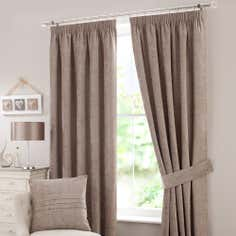 Taupe Chenille Lined Pencil Pleat Curtain Collection