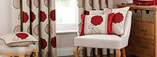 Red Louisa Pencil Pleat Curtain Collection