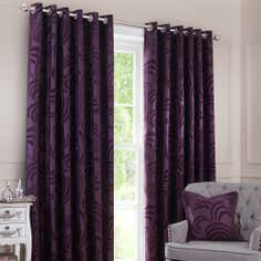 Plum Glamour Flock Eyelet Curtain Collection