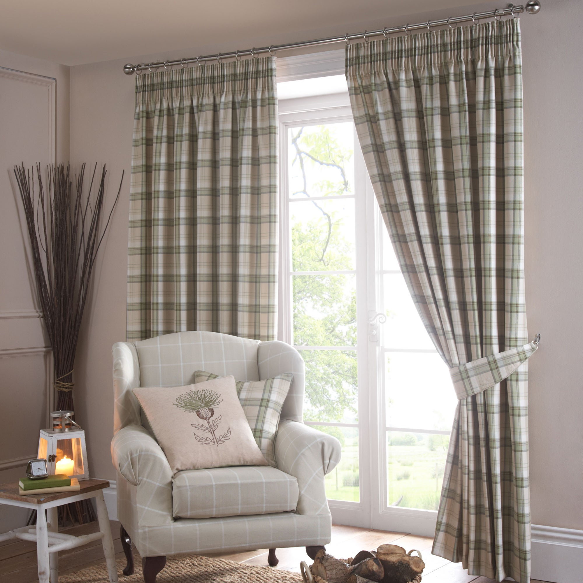 Green Balmoral Pencil Pleat Curtain Collection