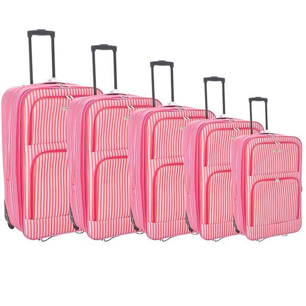 Faro Pink Stripe Luggage Collection
