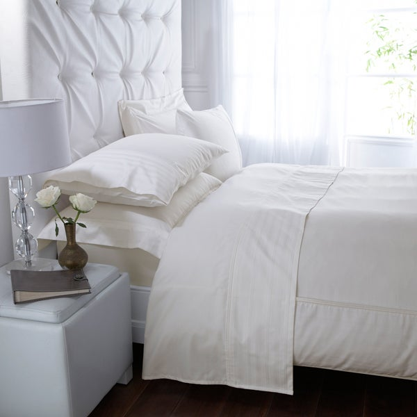 Cream Hotel Pima Pinstripe 400 Thread Count Bedlinen Collection