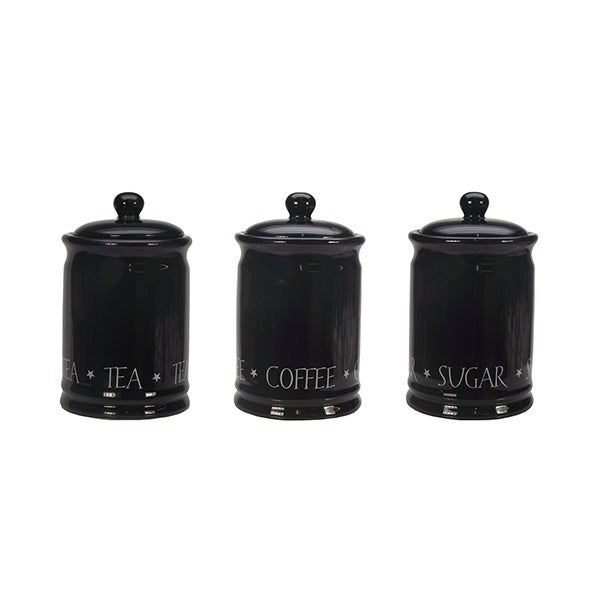 Black Vintage Text Kitchen Canister Collection