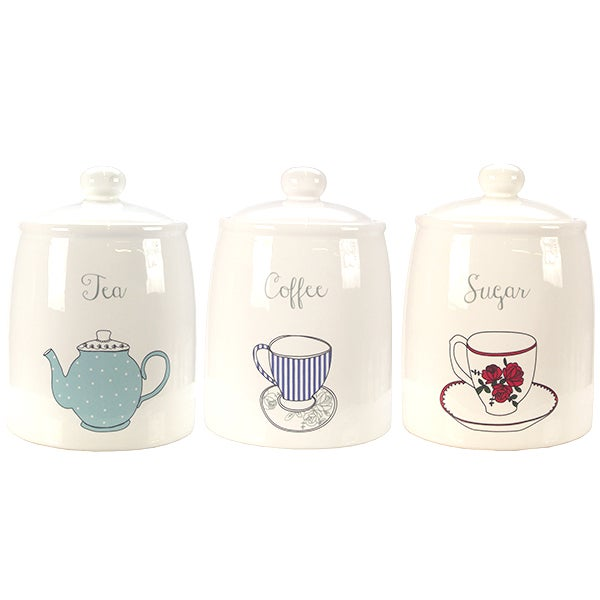 Vintage Teacups Kitchen Canister Collection