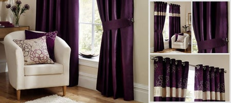 Aubergine Scattered Flowers Curtain Collection