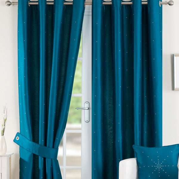 Peacock Diamante Eyelet Curtain Collection
