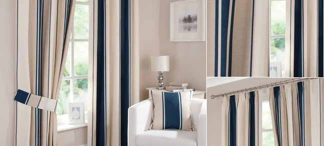 Navy Milan Curtain Collection