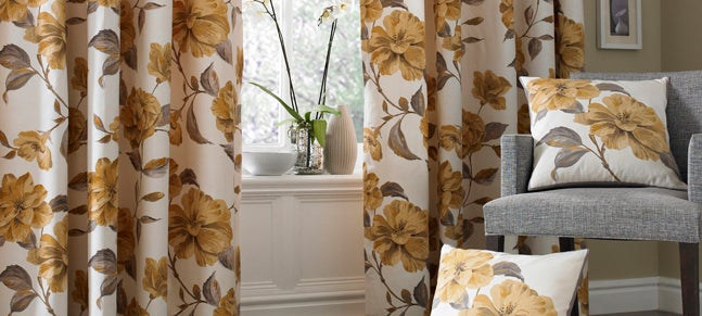 Antique Gold Gardinia Curtain Collection