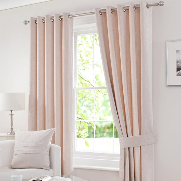 Cream Chenille Eyelet Curtain Collection