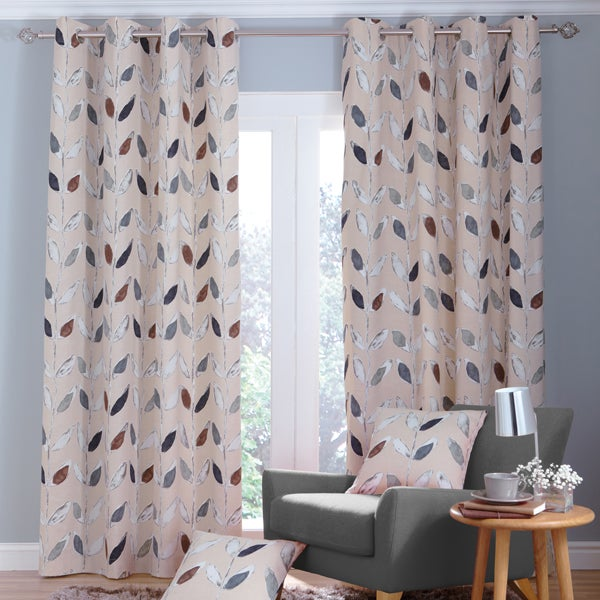 Natural Painted Leaves Curtain Collection