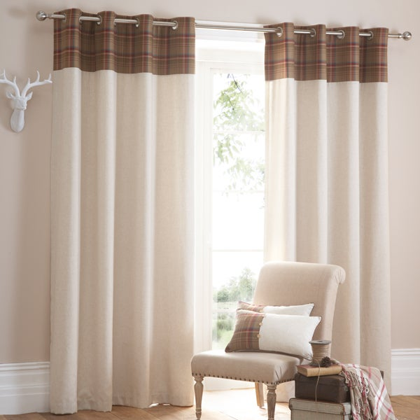 Red Tweed Checked Curtain Collection