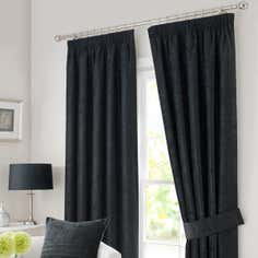 Black Chenille Pencil Pleat Curtain Collection