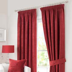 Red Chenille Pencil Pleat Curtain Collection