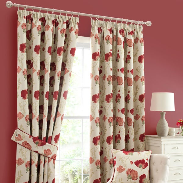 Red Poppy Chenille Curtain Collection