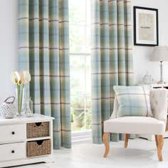 Duck Egg Highland Check Curtain Collection