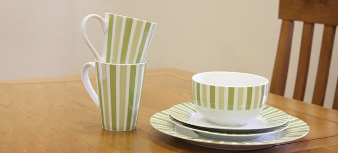 Pistachio Stripe Dinnerware Collection
