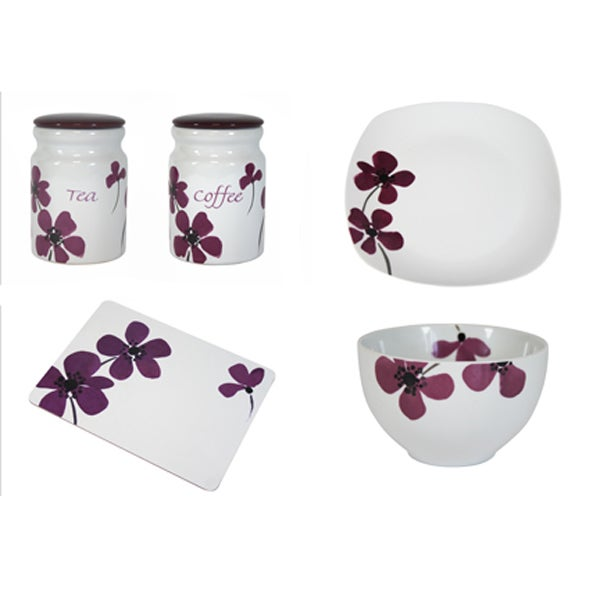 Plum Painted Poppy Dinnerware Collection