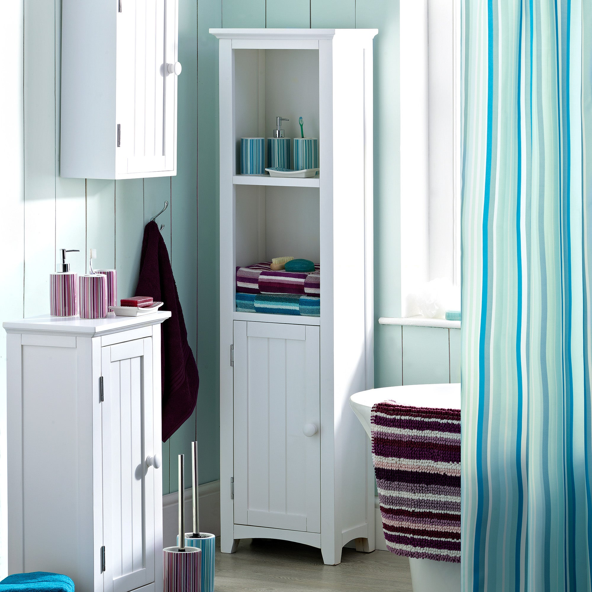 Monaco Acacia White Bathroom Furniture Collection