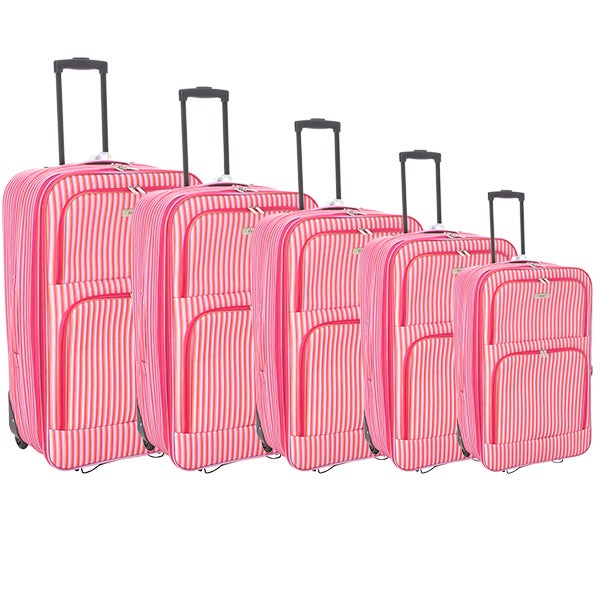 Faro Pink Stripe Luggage Collection